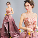 Women Strapless Sleeveless Beading Flower Long Evening Party Prom Dress