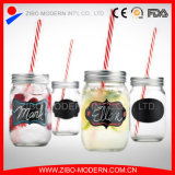 Glass Mason Jar with Handle and Blackboard Decal