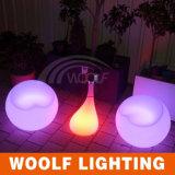 LED Plastic Stool Living Room Furniture Centre Glass Table