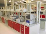 Laboratory Island Bench Coating with Red Color