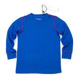 Dark Blue Merino Wool Children′s Thermal Underwear Set