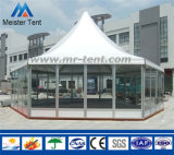 White Cpver Glass Walls Pagoda Tent