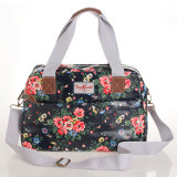 Black Waterproof PVC Canvas Floral Patterns Zipper Lady Handbag (23090)