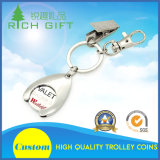 Custom Supermarket Metal Trolley Token Coin Key Holder with Keyring