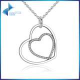 Classic 925 Sterling Silver Clear Heart to Heart Pendant Necklace