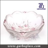 Rose Carving Color and Frosted Round Glass Bowl (GB1633XMG/PDS)