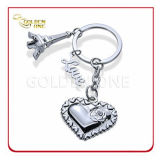 Shiny Nickel Plated Metal Promotion Keyring with Eiffel Tower