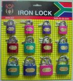 Colourful Iron Padlock W/Skin Card Packing (25/32/38*4)