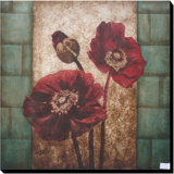 Stretched Canvas Classical Oil Painting Blooming Vivid Red Flower (LH-501030)