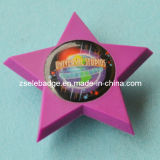 Star-Shaped Soft PVC Badge with Printing Insert