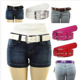 Women's Leather Removable Silver Buckle Solid Color Fashion Belt