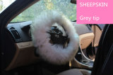 Stuffed Long Wool Sheepskin Steering Cover with Grey Tip