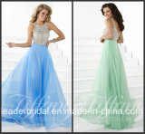 Blue Green Chiffon Party Prom Gown Vestidos Sequins Evening Dress P16083