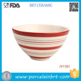 Simple Elegant Appearance Red Streak Ceramic Circular Bowl