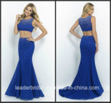 Royal Blue Party Prom Cocktail Dress Two Piece Pearls Evening Dress Ld152919