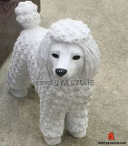 White Marble Stone Poodle Dog Statue Decoration Sculpture
