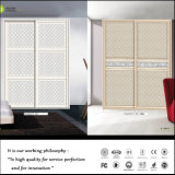 Modern White Leather Sliding Wood Wardrobe
