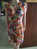 Women′s Floral Dress, Belt, Fashion Clothing