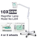 L204 Stand Illuminated 10X Magnifying Lamp with Wheels