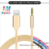 1m Nylon Braided Aux Cable Lighting to 3.5mm Male Headphone Jack Audio Adapter