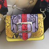 New Style Lady Handbags Colorful Snake Leather Hand Bags Shoulder Bag with Colorful Shoulder Strap Emg5097