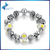 Delicate Charm Bracelet Yellow Glass Beads Round Snake Clasp Charms Bracelets