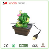 Polyresin Water Fountain Frog Figurines with USB Charged for Table Decoration