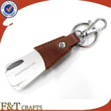 Various Designs Real Leather Shoehorn with Metal Keyring (FTKC1857A)