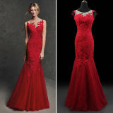 Red Lace Tulle Open Back Mermaid Evening Dresses (TM-ED002)