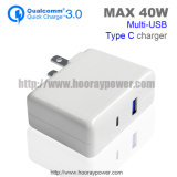 EU Us Plug Foldable Fast Charging QC 3.0 Wall Charger Type C Port 5V 3.1A40W Portable USB Travel Charger with Collapsible Plug