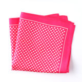 Fashionable Pink Silk Polyester Printed Plaid Pocket Square Hanky Handkerchief