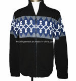 Men Knitted Turtle Neck Long Sleeve Cardigan with Zipper (M15-032)