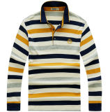 Customize Cheap Fashion Knitted 100%Cotton Striped Men Polo Shirt