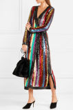 High Quality Grace Striped Sequined Georgette Wrap Dress for Women