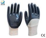 Cotton Jersey Shell Blue Nitrile Coated Safety Work Gloves (N6034)