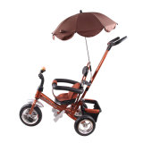 Steel Frame Plastic Seat Baby Tricycle with Front Basket