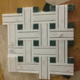 Volakas White Marble Tile Dark Green Mosaic Stone for Wall