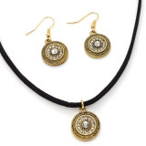 Black Leather Rhinestone Pendants Choker Necklace Earrings Fashion Jewelry Set