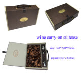 Customized Cardboard Wine Box with Leather Handle for Two Bottles
