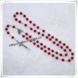 All Real Red Scented Wooden Beads Rosary Necklace (IO-cr015)