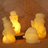 Set of 4 Snowman Sharp LED Candles