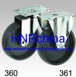 Black PP Wheel Rigid Plate Top Caster