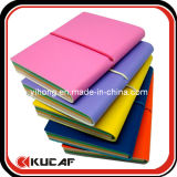 Landscape Elastic Closure PU Notebook with Colorful Paper
