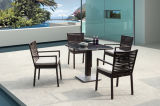 Four People Dark Brown Color Pool Outdoor Furniture Rattan Dining Table Set
