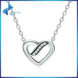 925 Sterling Silver Ribbons of Love, Clear CZ Pendants Necklace for Women