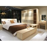 Wholesale Wood Grain and Glass Sliding Doors Wardrobe for Bedroom