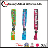 Festival Polyester Custom Woven Logo Cloth Wristband with Beads