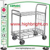2 Tiers Metal Folding Mobile Food Cart