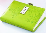 Luxury Green Leather Notebook with Coded Lock