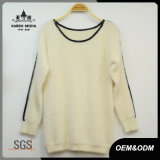 Women Fashion Leather Patch Knitted Sweater